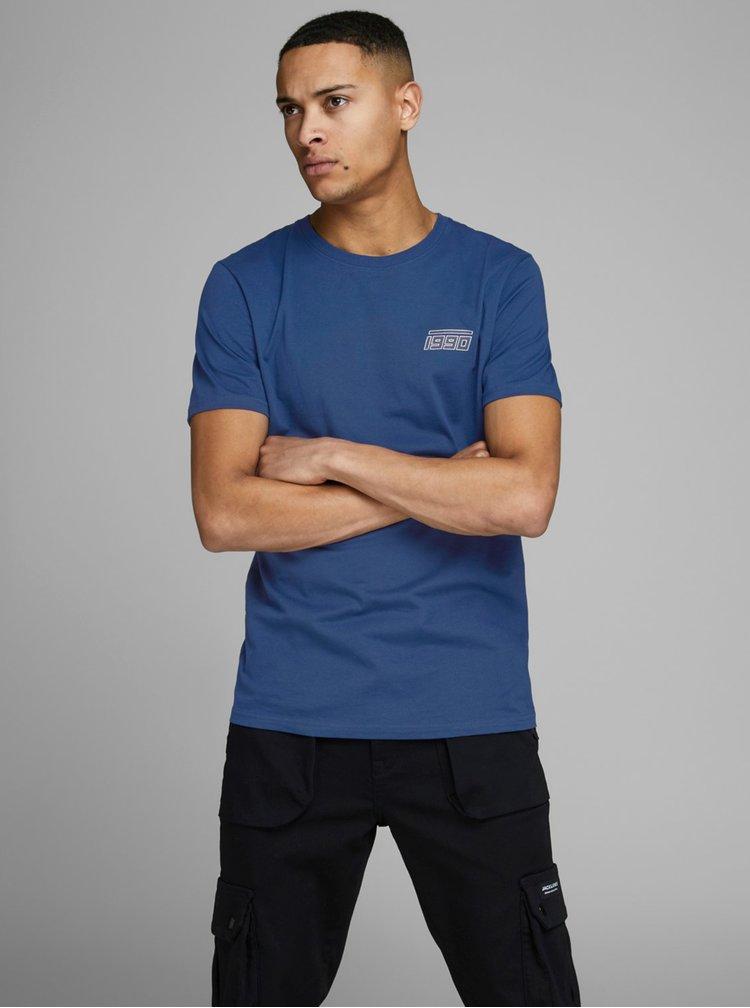Tmavomodré tričko s potlačou Jack & Jones Clean