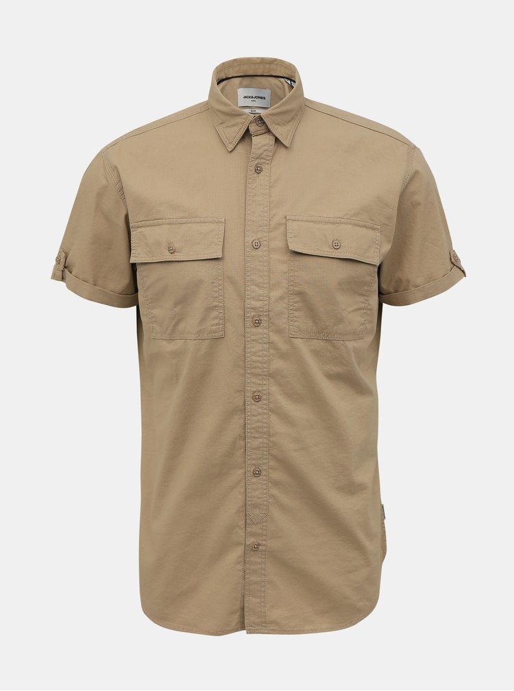 Tricouri cu maneca scurta pentru barbati Jack & Jones - maro deschis