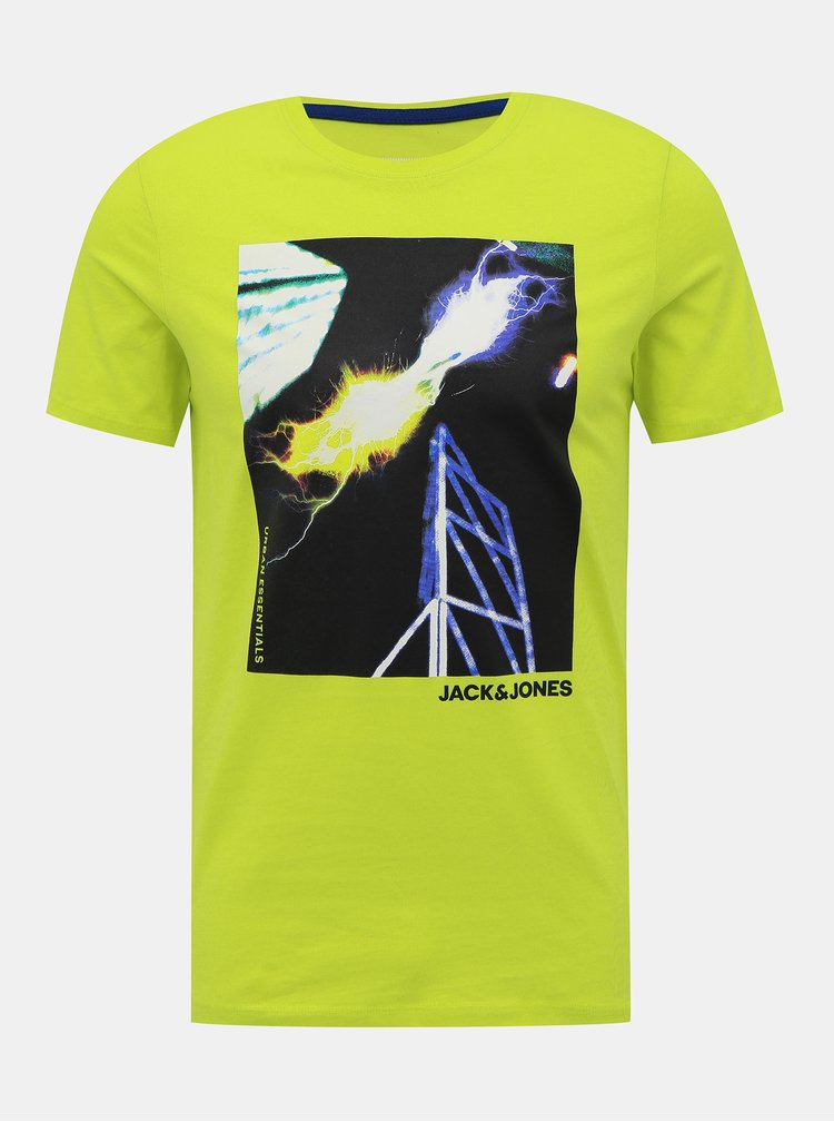 Svetlozelené tričko s potlačou Jack & Jones Urban Strike