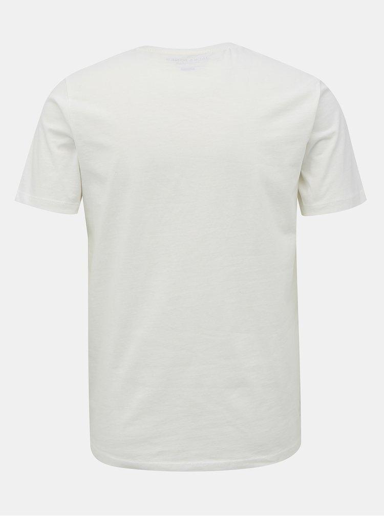 Bílé tričko s potiskem Jack & Jones Fading