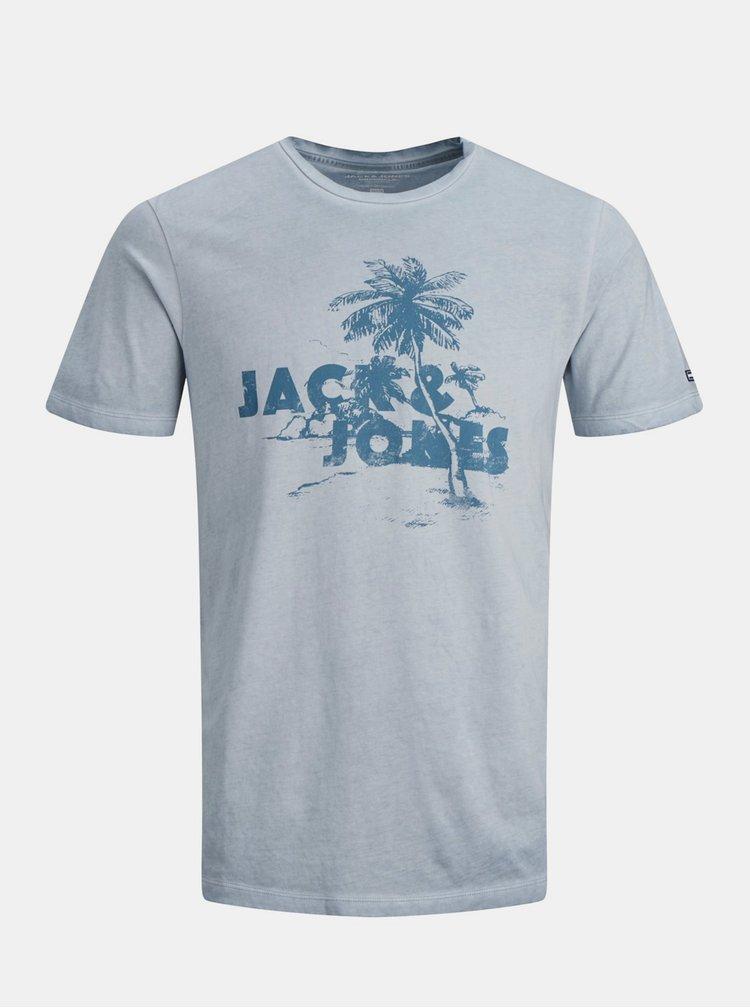 Světle modré tričko s potiskem Jack & Jones Abre