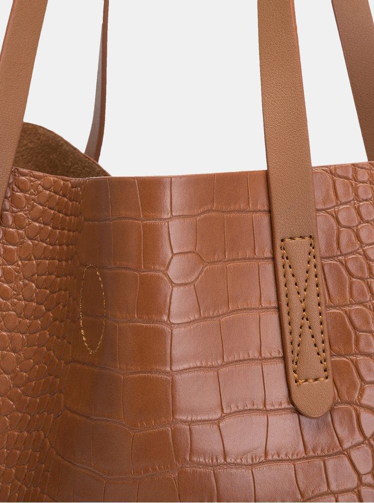 Hnědý shopper s krokodýlím vzorem a odnímatelným pouzdrem Claudia Canova Ophelia