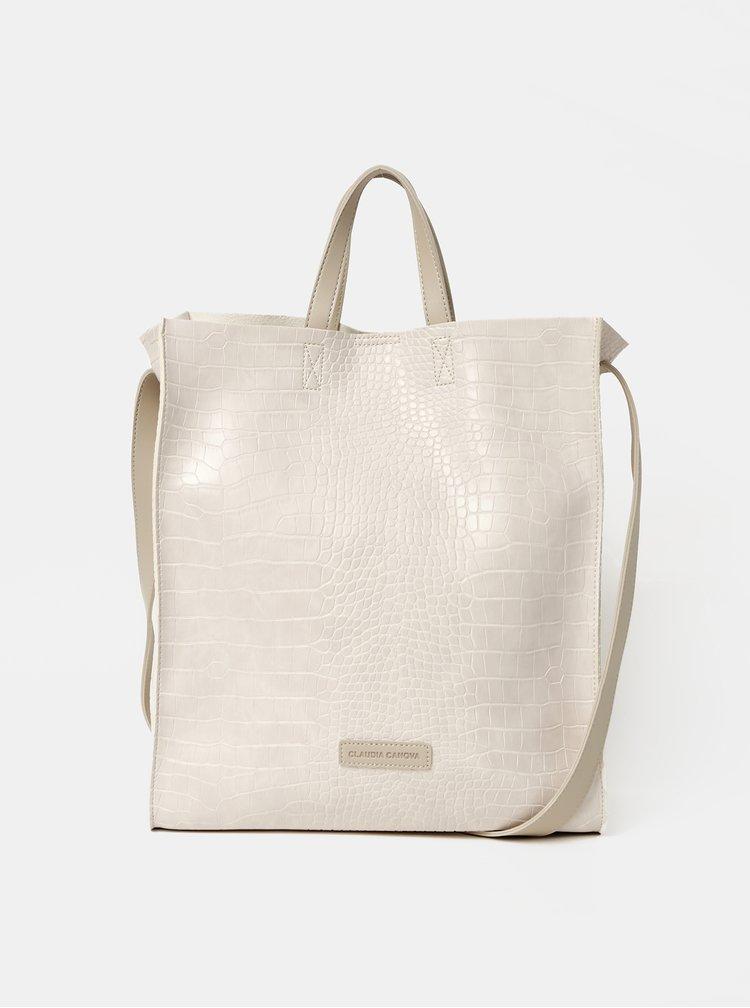 Krémová kabelka s krokodýlím vzorem a odnímatelným pouzdrem Claudia Canova Retta