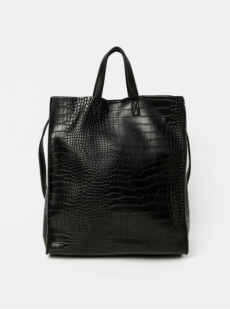 Černá kabelka s krokodýlím vzorem a odnímatelným pouzdrem Claudia Canova Retta