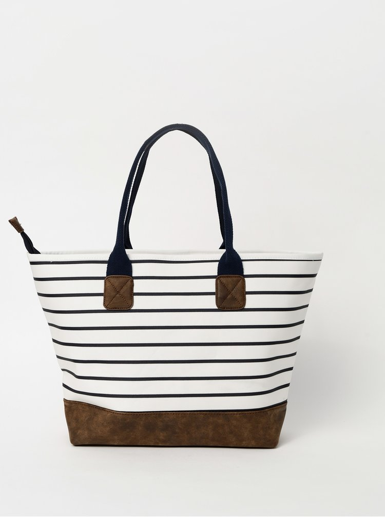 Bílá pruhovaná kabelka Brakeburn Stripe Tote