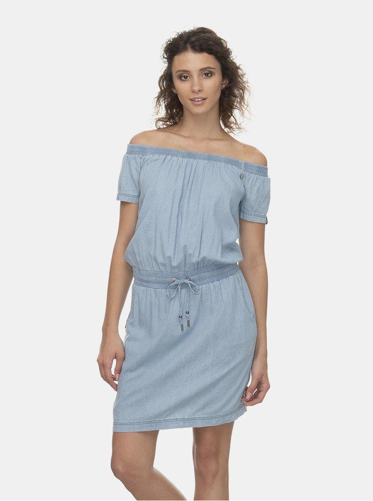 Světle modré šaty s odhalenými rameny Ragwear Everly Denim