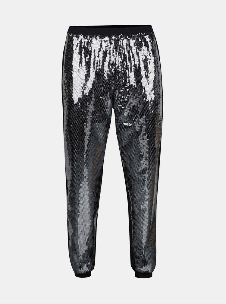 Čierne elastické nohavice s flitrami Idol Ray