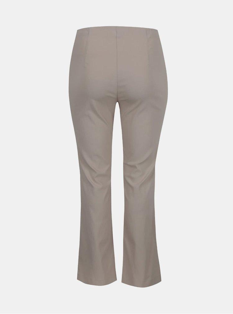 Pantaloni bej Ulla Popken cu talie elastica