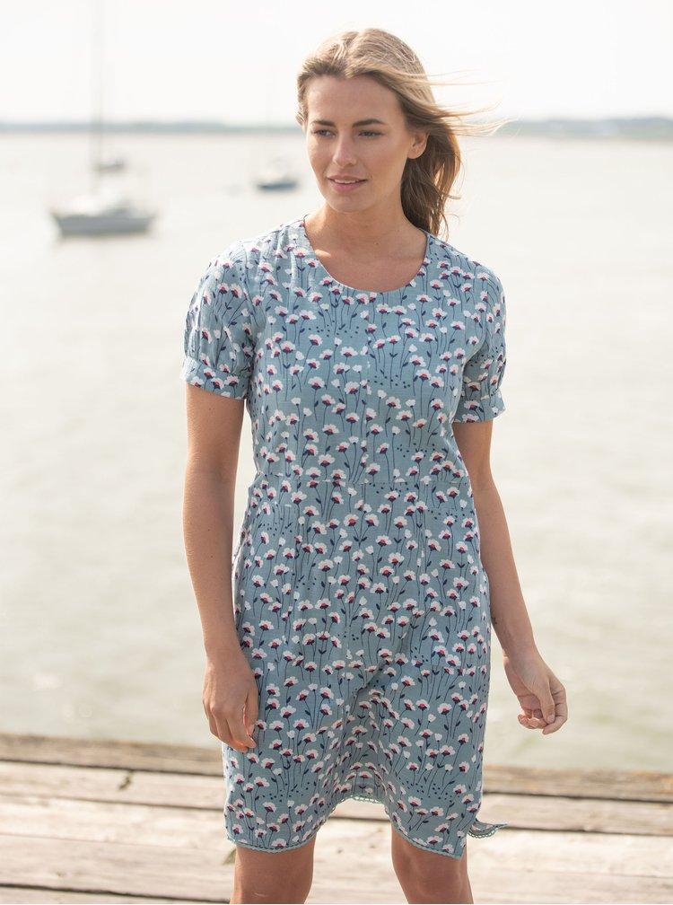 Modré lněné květované šaty Brakeburn