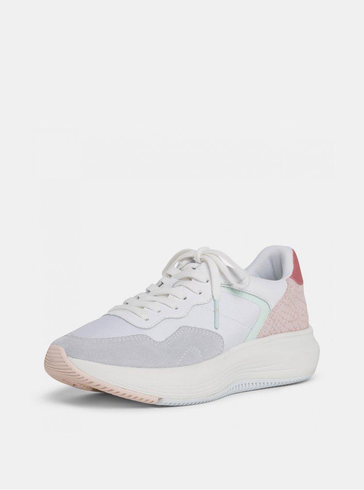 Ružovo-biele tenisky na platforme Tamaris