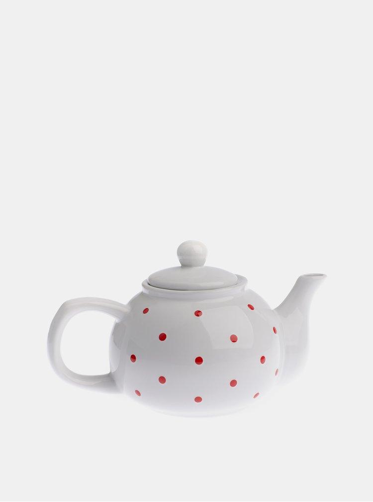 Bílá puntíkovaná konvička na čaj Dakls