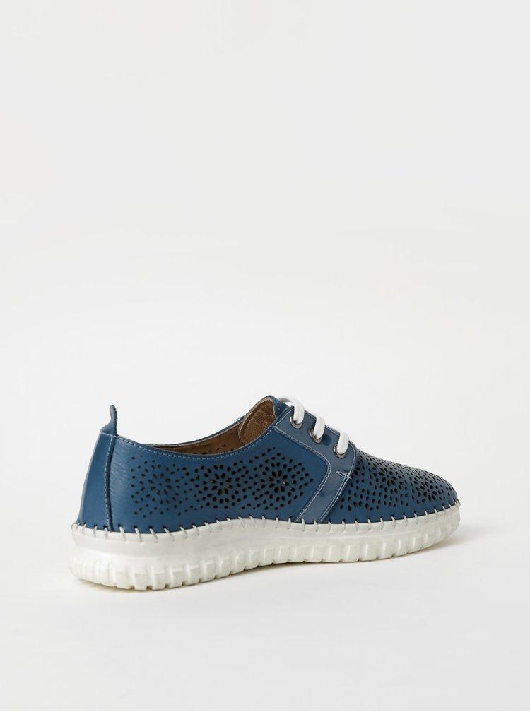 Modré dámské kožené perforované tenisky WILD