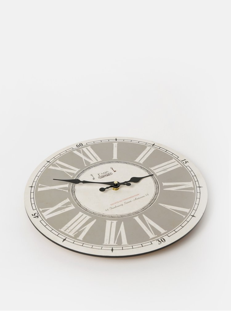 Krémové nástenné hodiny Dakls