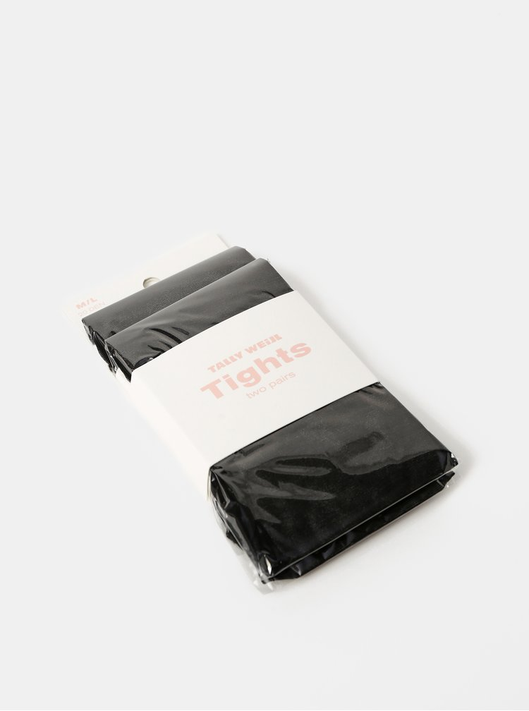 Dva páry černých punčochových ponožek TALLY WEiJL