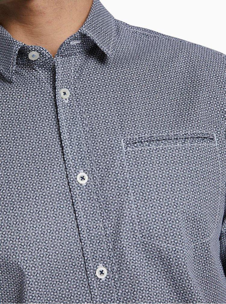Tmavě modrá pánská košile s drobným vzorem Tom Tailor
