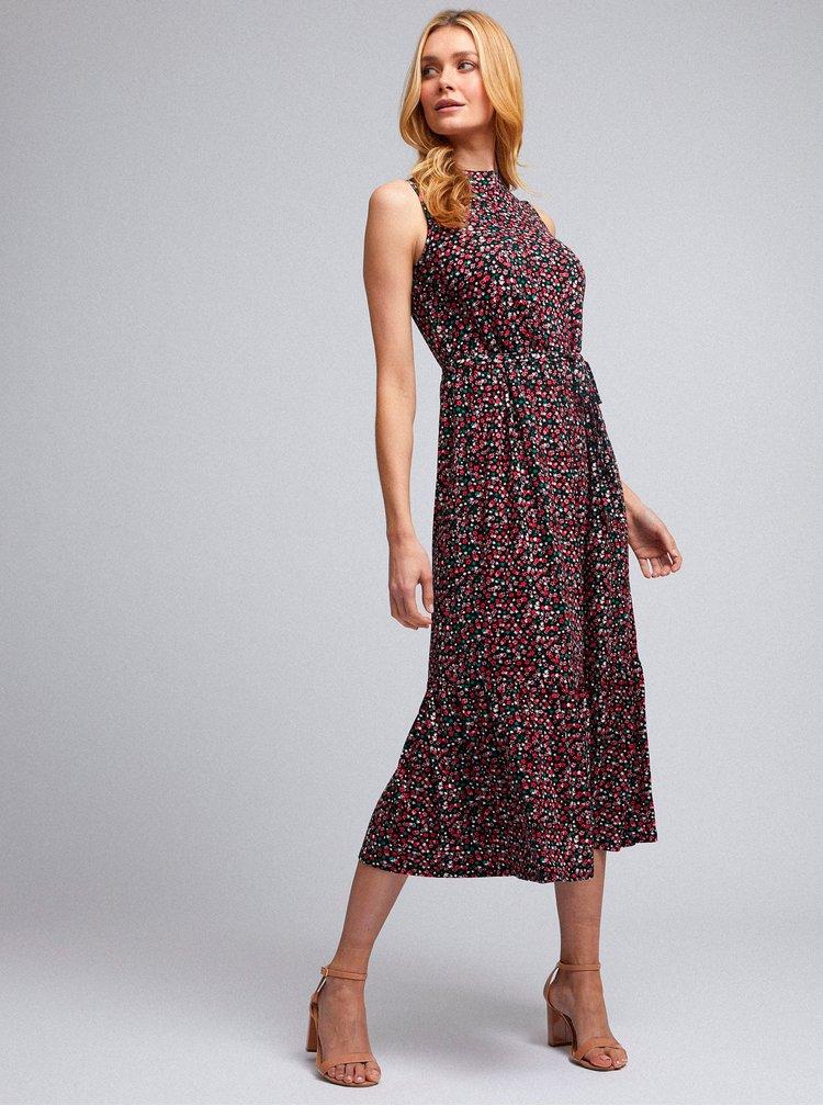 Černo-červené květované midišaty Dorothy Perkins