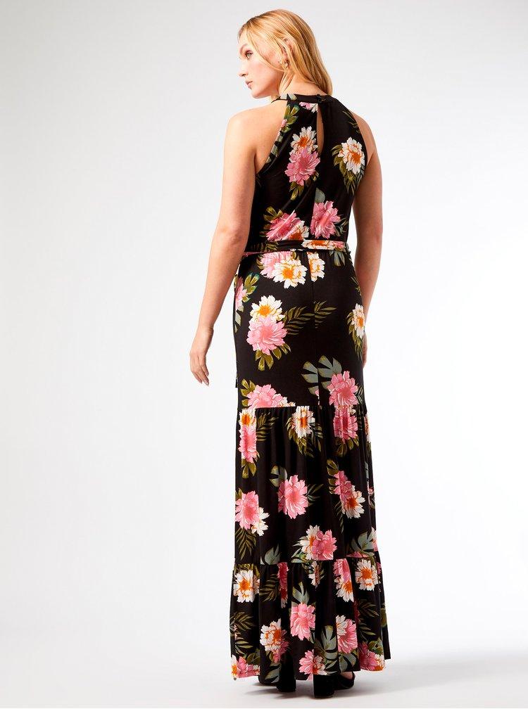 Černé květované maxišaty Dorothy Perkins Tall