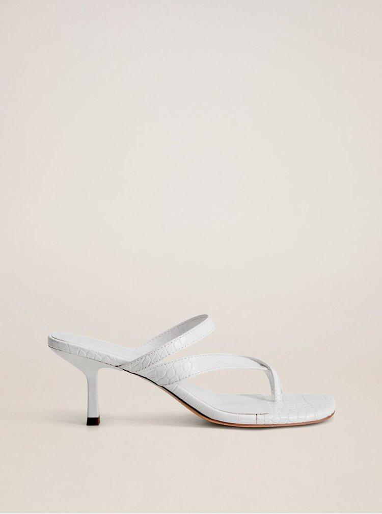 Bílé sandálky s krokodýlím vzorem Mango Pile
