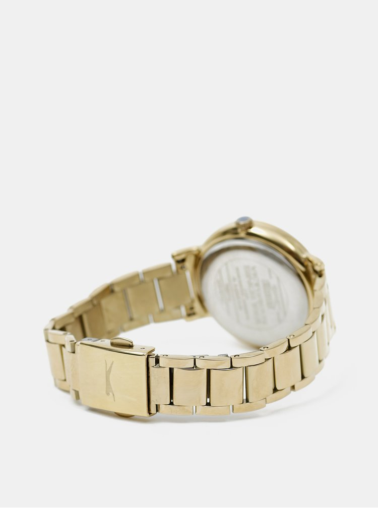 Dámské hodinky s kovovým páskem ve zlaté barvě Slazenger