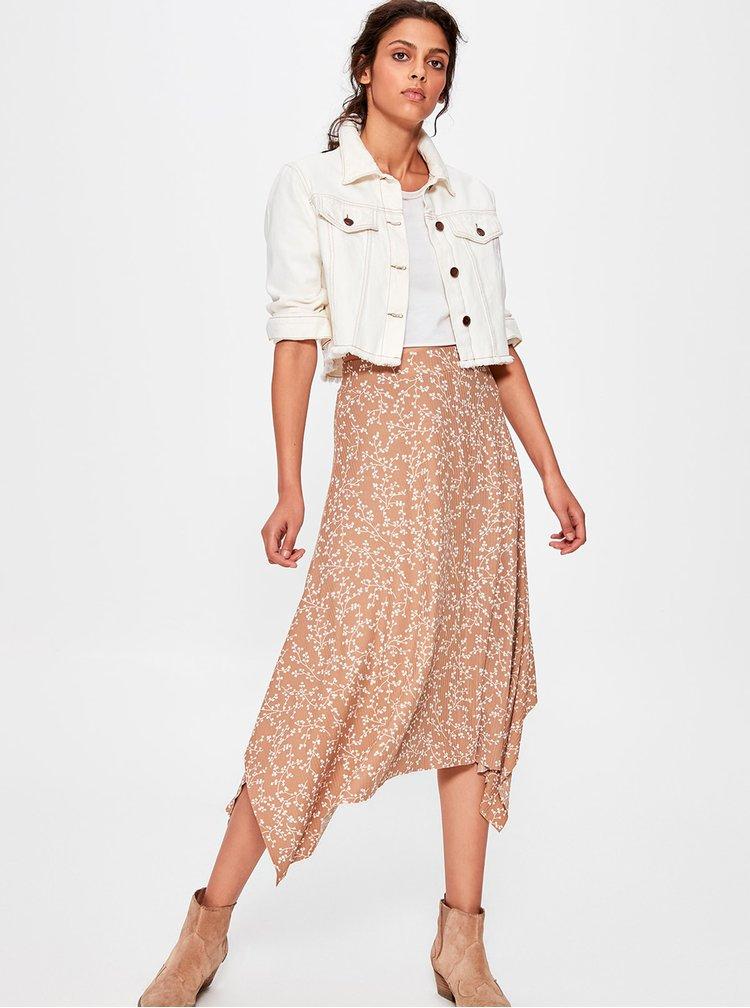 Béžová kvetovaná sukňa Trendyol