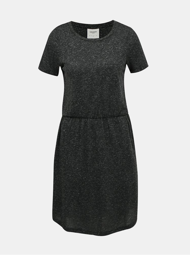 Tmavě šedé žíhané basic šaty s příměsí lnu VERO MODA