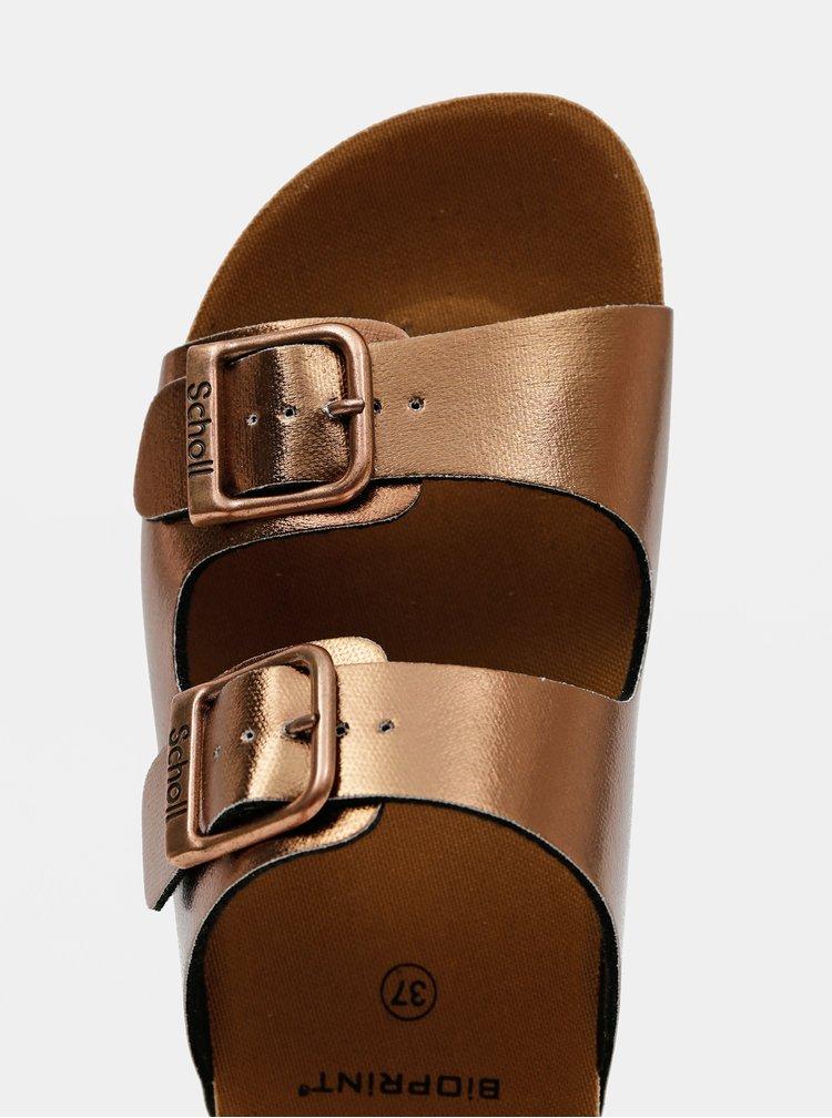 Dámské pantofle v bronzové barvě Scholl Greeny Mule