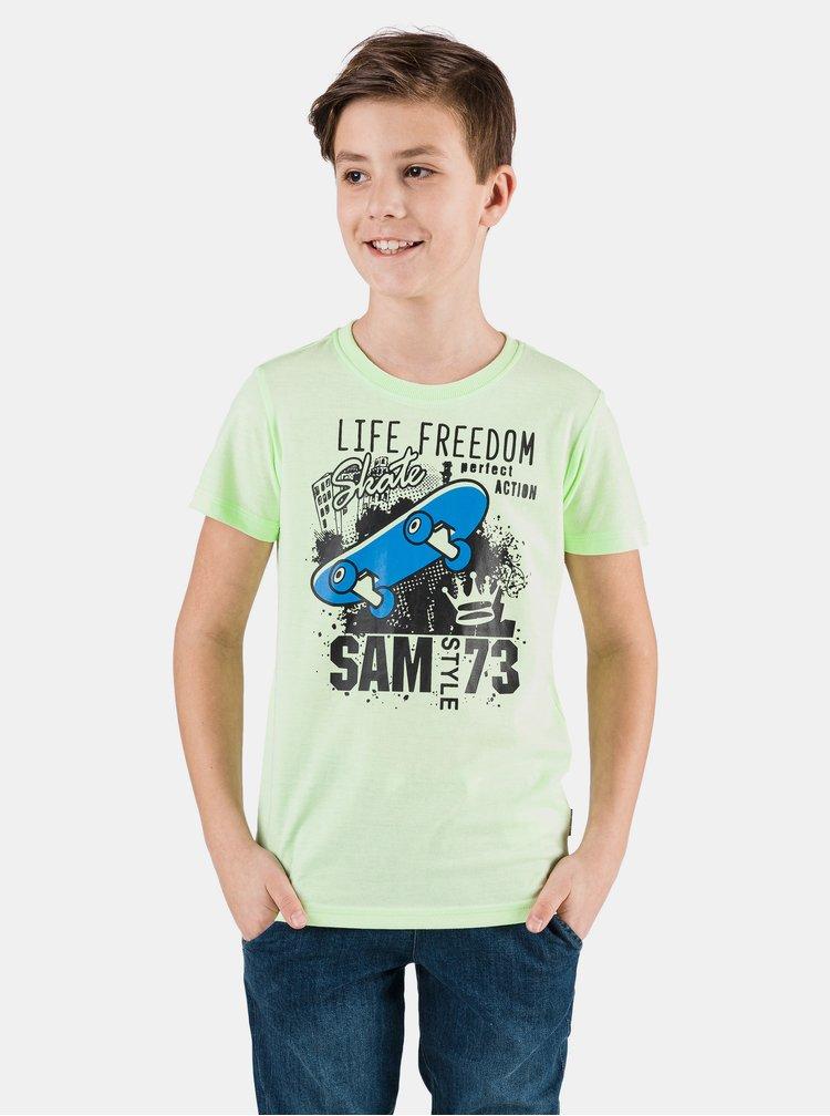 Neonově zelené klučičí tričko s potiskem SAM 73