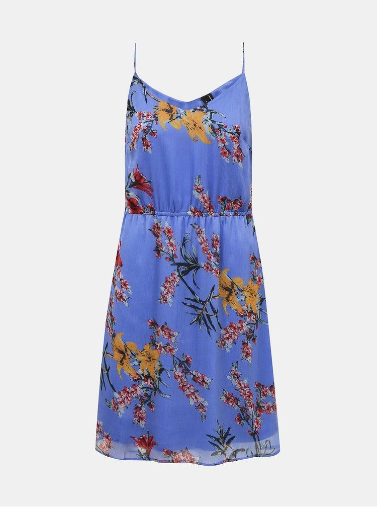 Modré květované šaty VERO MODA