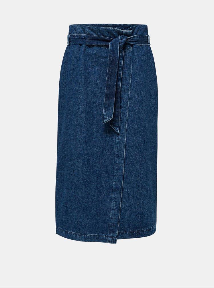 Modrá džínová zavinovací midi sukně Selected Femme