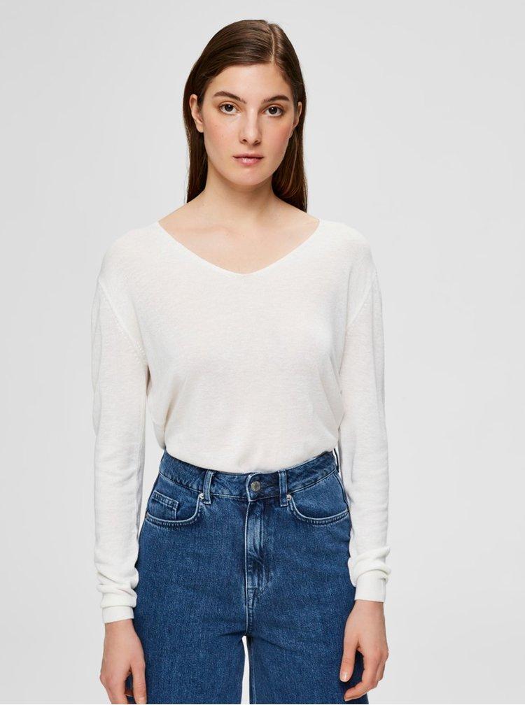 Bílý lehký svetr s příměsí lnu Selected Femme