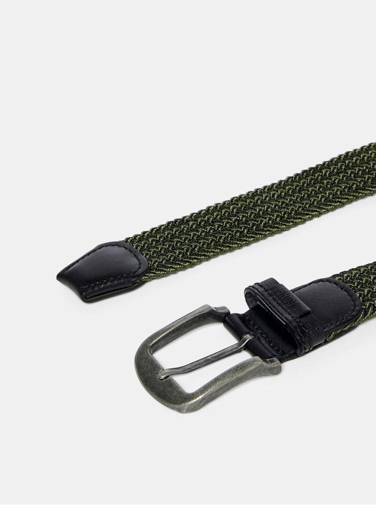 Tmavě zelený pásek s koženými detaily ONLY & SONS Cas