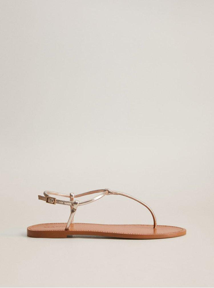 Kožené sandály ve zlaté barvě Mango Formen