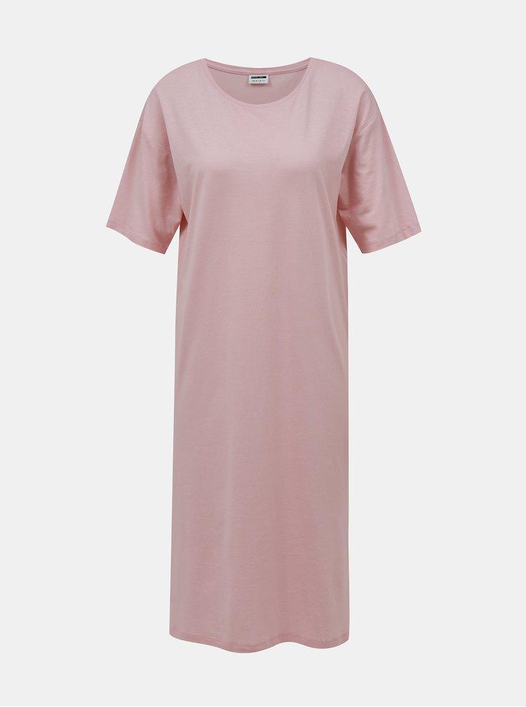 Růžové basic midi šaty Noisy May