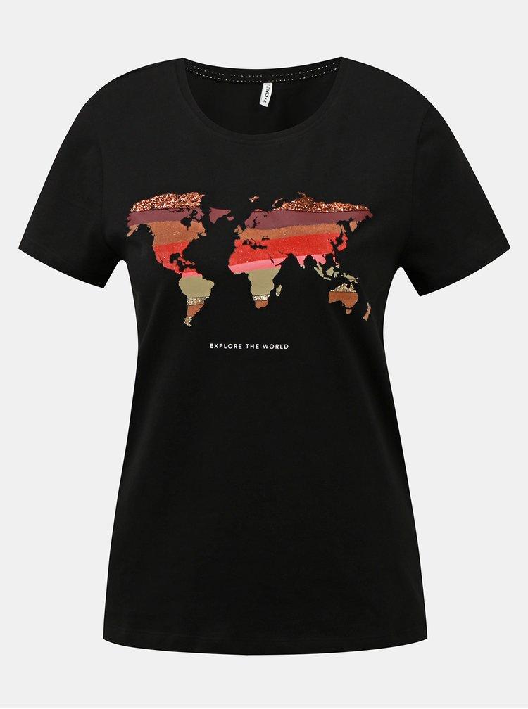 Čierne tričko s potlačou ONLY