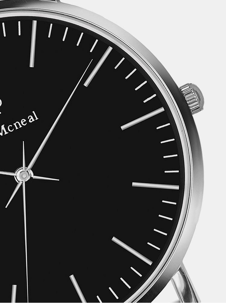 Sada pánských hodinek s černým nerezovým páskem a koženého náramku Paul McNeal