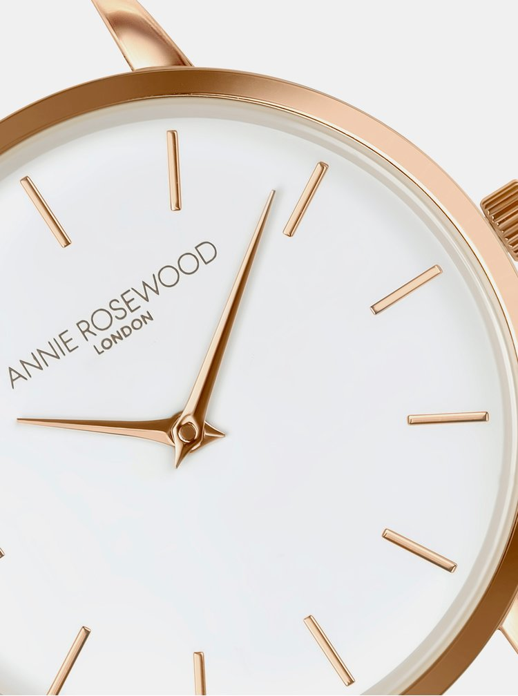 Dámské vzorované hodinky s bílým koženým páskem Annie Rosewood