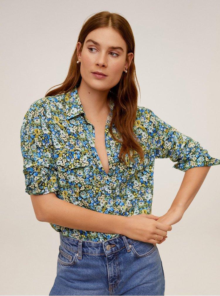 Modro-zelená květovaná košile Mango Valen