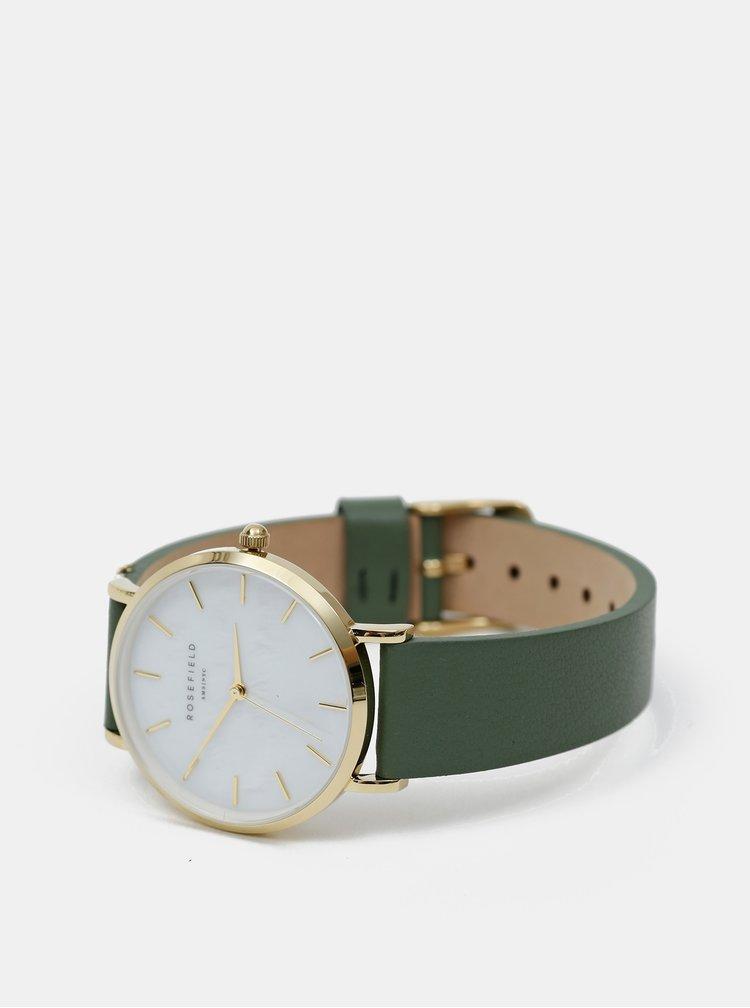 Dámske hodinky so zeleným koženým remienkom Rosefield