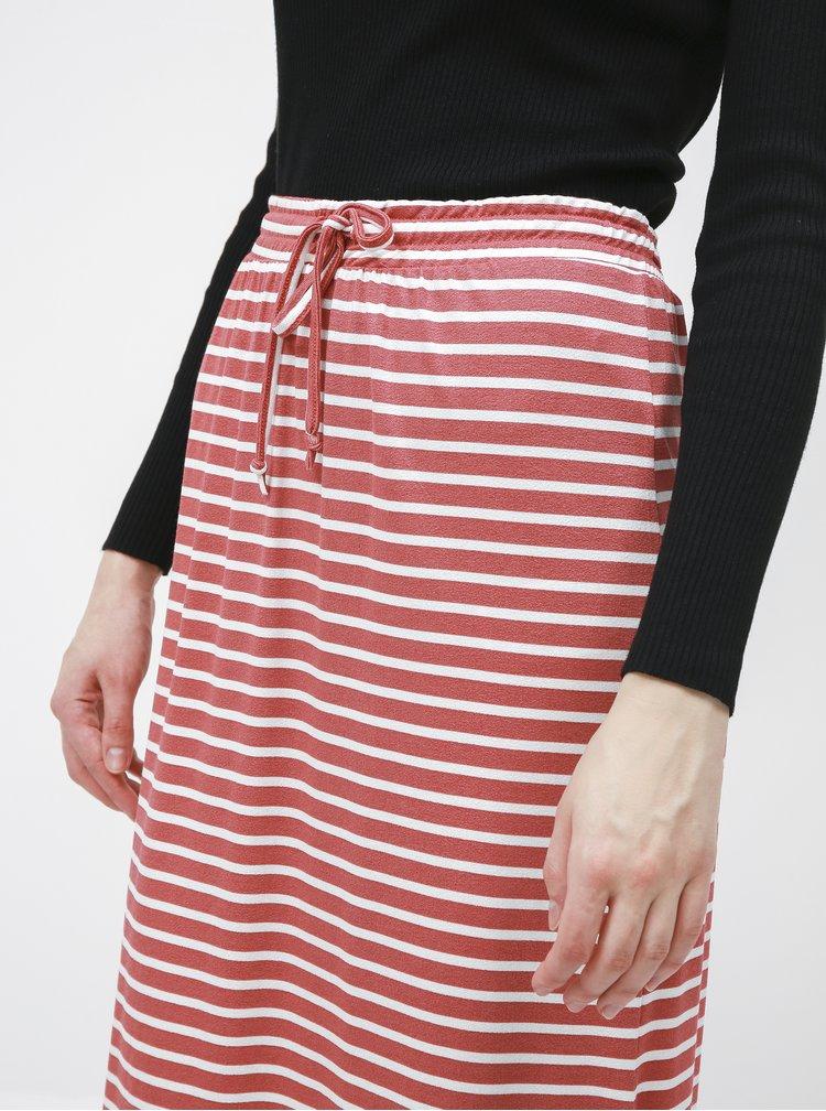 Starorůžová pruhovaná basic maxi sukně VILA Dell