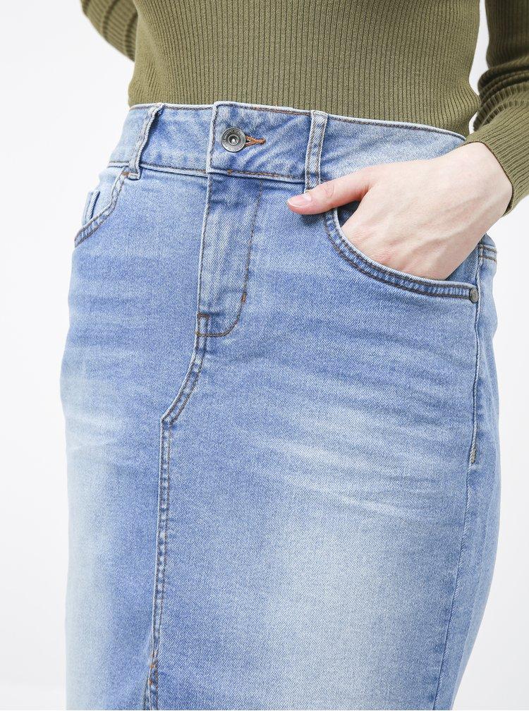 Světle modrá džínová pouzdrová sukně Tom Tailor
