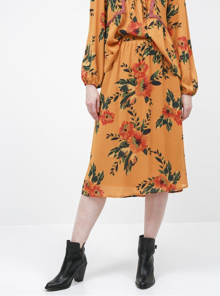 Hořčicová květovaná midi sukně Jacqueline de Yong Solis