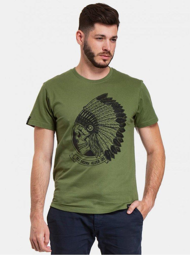 Zelené pánské tričko s potiskem Meatfly Chief
