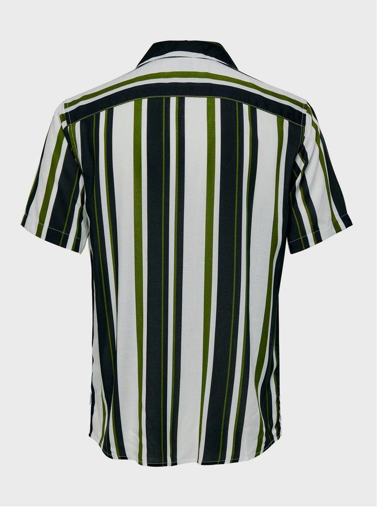 Zeleno-bílá pruhovaná košile ONLY & SONS Wayni