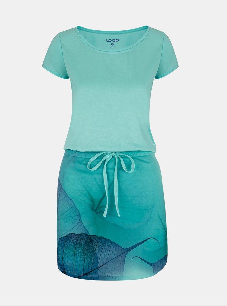 Světle modré dámské vzorované šaty LOAP Alysa