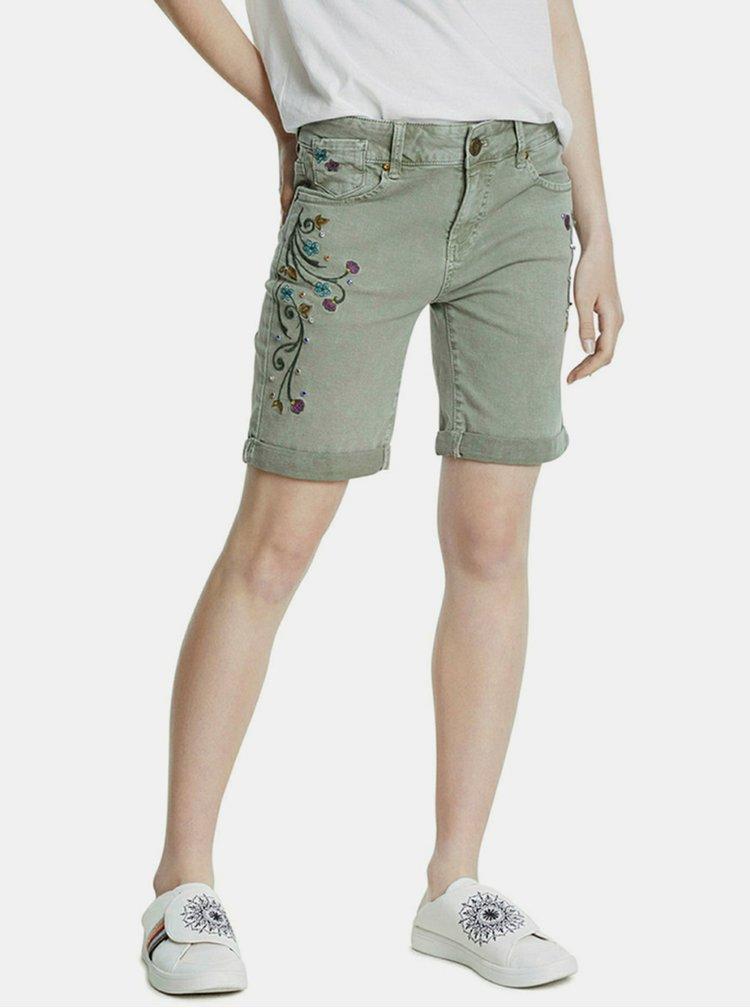 Světle zelené džínové kraťasy Desigual