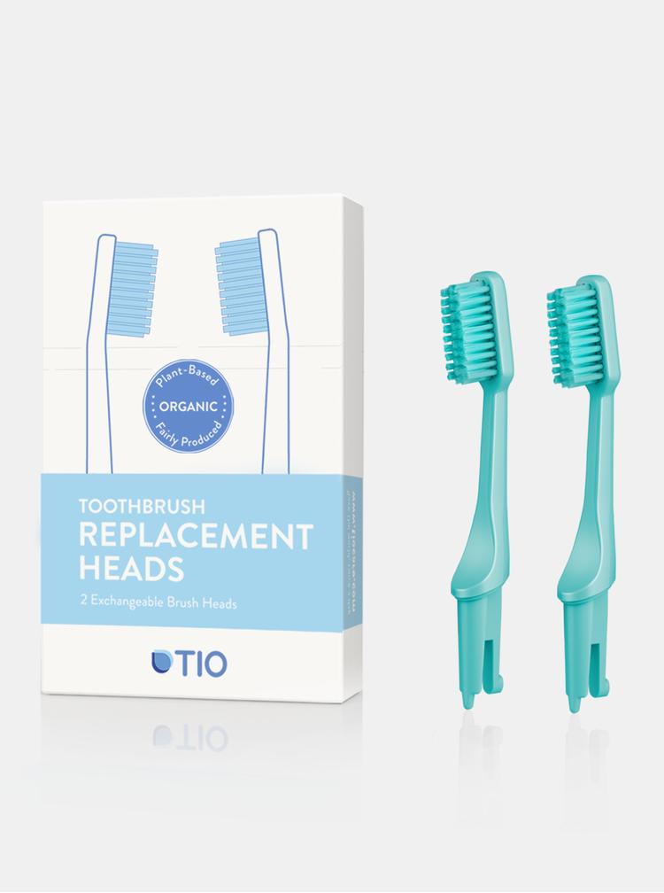 Náhradní hlavice k zubnímu kartáčku (medium) - tyrkysově zelená 2 ks TIO