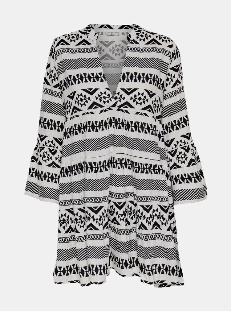 Bílo-černé vzorované šaty ONLY