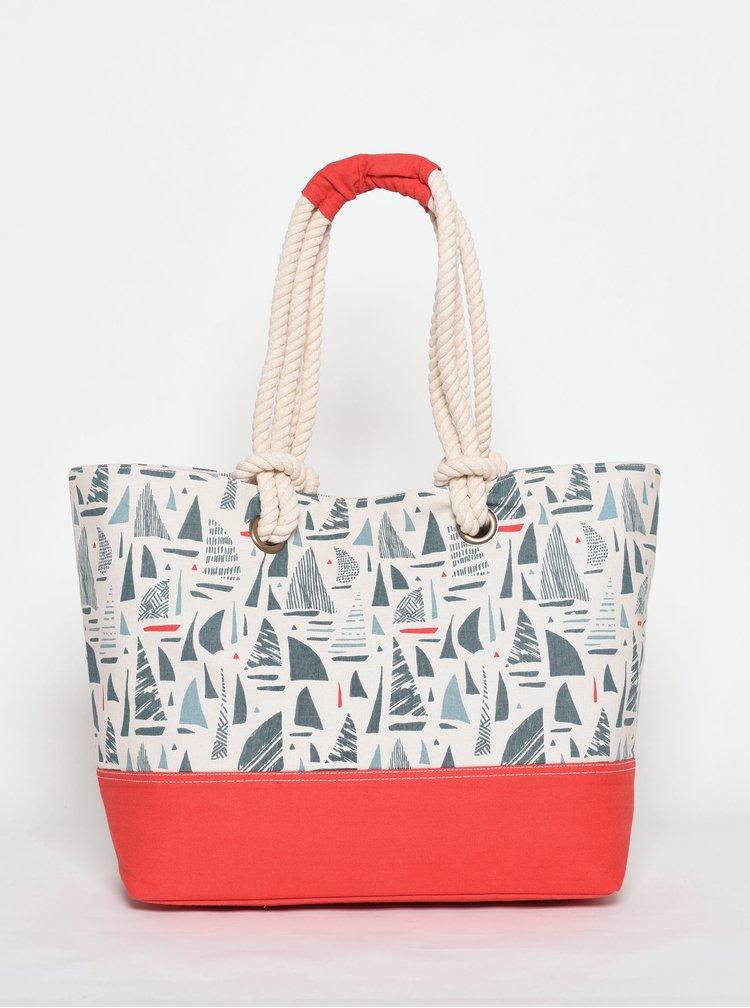 Červeno-krémová vzorovaná plážová taška Brakeburn