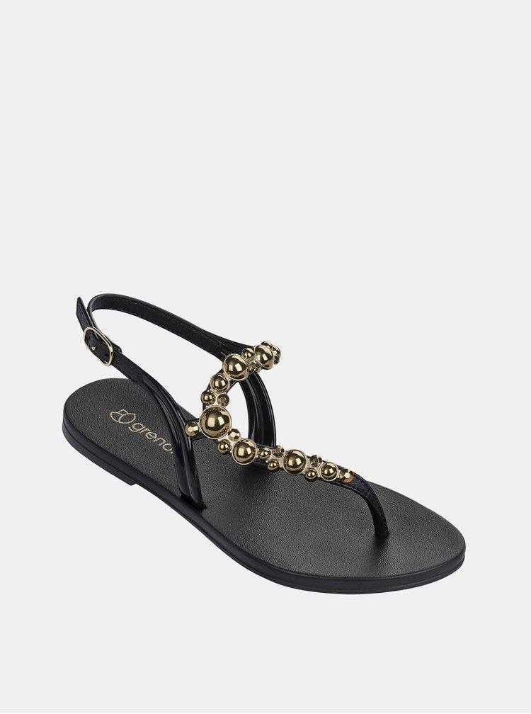 Sandale negre Grendha cu detaliu auriu