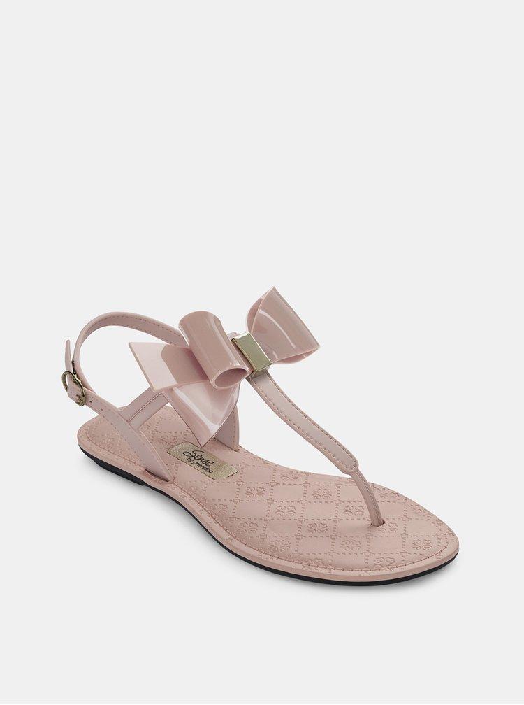 Sandale roz Grendha cu funda decorativa si detaliu auriu